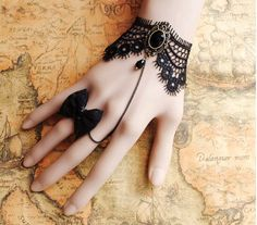 Gothic Victorian Lolita BLACK LACE bracelet w chain n BOW butterfly bead ring…