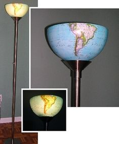Light the world: upcycle a globe... hanging or standing lamp... Also at: http://bedzine.com/blog/bed-diy/tips-tricks/diy-globe-lamp/