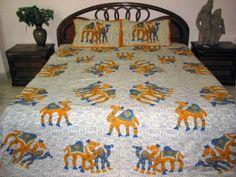 3pc Indian Bedding Orange Blue Camel Print Cotton Bedspreads Queen Bed Sheet Throw by Mogul Interior, http://www.amazon.com/dp/B0098X8S72/ref=cm_sw_r_pi_dp_OpXtqb1JYNTQW$59.99