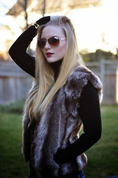 Vancouver Vogue: Boho urban chic style with fur vest and aviators