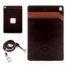 excuve MTX1 Personalized Leather Lanyard Necklace ID Credit Card Holder D-Brown
