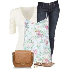 Floral Cami and Jeans by daiscat on Polyvore featuring Quiz, John Lewis, Express, Tory Burch, Astley Clarke and DesignSix
