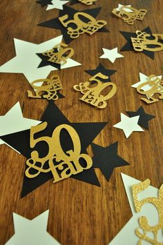 50 and Fabulous. Handcrafted in Busines – Confetti Momma Diy 50th Birthday Decorations, 50th Anniversary Centerpieces, 50th Birthday Party Games, Moms 50th Birthday, Gold Party Decorations, Birthday Party Centerpieces, 50th Party, Happy Birthday, Birthday Star