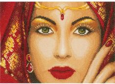 Lanarte Eastern Beauty - Cross Stitch Kit. Kit includes 27 count White Linen, thread, needle, and instructions. Finished size: 11.2 x 8