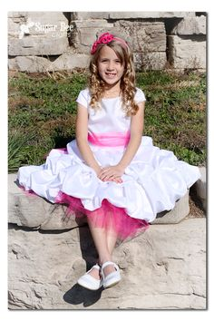 Sugar Bee Crafts: Baptism Dress - love the pink tulle peeping out - maybe do this is soft pink or blue