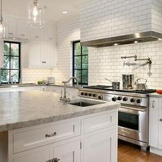 colors of the cabinets, tile, countertops