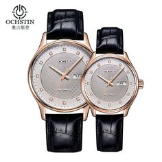 72.99$  Buy now - http://alin02.worldwells.pw/go.php?t=32693528650 - OCHSTIN Mens Brown Leather Band Watches Top Brand Luxury Mechanical Watch Water Resistant Calendar Authentic Watches Orologi Uom