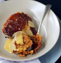Malva Pudding from South Africa. A sticky, sweet apricot sponge pudding from South Africa, served with creamy brandy sauce. Pudding Desserts, Pudding Recipes, No Bake Desserts, My Recipes, Delicious Desserts, Recipies, Brandy Sauce, Malva Pudding, My Best Recipe