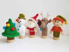 Christmas Finger Puppets crochet puppets Christmas by FunnyAmiToys