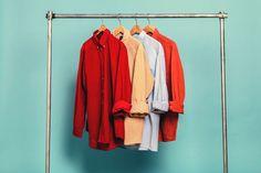 Retrock - Retrock - cutting edge fashion from Budapest based vintage & designer shop Orange Shirt, Red Shirt, Vintage Shirts, Vintage Outfits, Look Man, Wardrobe Rack, Corduroy, Vintage Designs, Light Blue