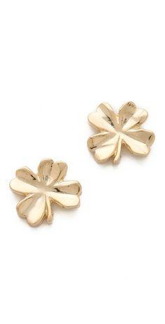Sweet little lucky golden four leaf clover studs