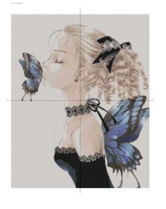 Free Fairy Cross Stitch Patterns | FREE: Blue Laced Winged Fairy Kissing A Butterfly Cross Stitch Pattern ...
