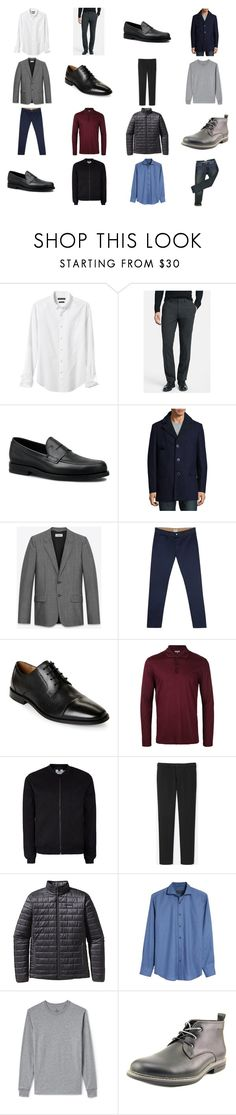 """""""Casual Gray Blue Black Winter Wardrobe"""" by chumiller22 on Polyvore featuring Banana Republic, Theory, Tod's, Tallia Orange, Yves Saint Laurent, Edwin, Florsheim, Lanvin, Topman and Uniqlo"""