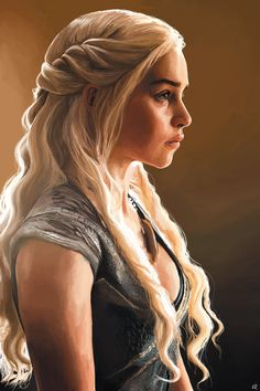 Daenerys Stormborn of the House Targaryen, the First of Her Name, the Unburnt, Queen of Meereen, Queen of the Andals and the Rhoynar and the First Men, Khaleesi of the Great Grass Sea, Breaker of Chains, and Mother of Dragons, Lewis Richards on ArtStation at https://www.artstation.com/artwork/3bW3Y