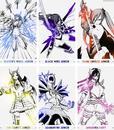Erza Scarlet Armor List   Erza Scarlet and her many awesome types of armor - Fairy Tail