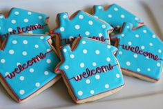 Cute for new neighbors or awesome for a housewarming party! Housewarming Party, Cookie Decorating Party, New Neighbors, Partys, Sugar Cookies, Coconut Cookies, Party Gifts, Holiday Parties, Open House