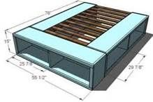 DIY Bed Frame - The link is not helpful, but this image explains the gist...Three bookshelves and a DIY bedframe! GENIUS.