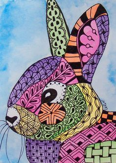 ACEO Le Print Zentangle Rabbit Bunny Animal Doodle Pet Portrait Wildlife Larusc | eBay
