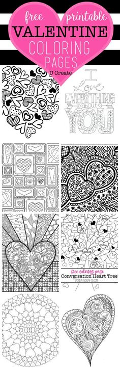 The Free Valentine Coloring Pages are here!You can't walk into a store without seeing those popular adult coloring books everywhere and you are sure to LOVE these pages. You can hang or frame your finished project to inspire you or add to your holiday decor! Conversation Hearts Coloring Page by U Create Quilted Heart Coloring …