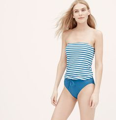 LOFT Beach Striped Blouson One Piece Swimsuit | Loft