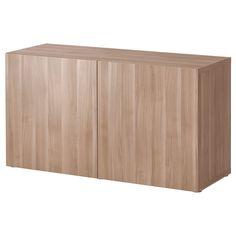 IKEA - BESTÅ Shelf unit with doors Lappviken walnut effect light gray
