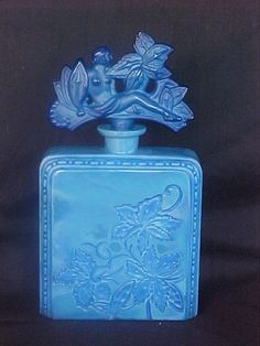 Rare Ingrid Glass Line Czech Art Deco Lapis Opaque Glass Perfume Bottle circa 1930's