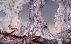 "Roger Dean's cover to the 1974 Yes album ""Relayer""."