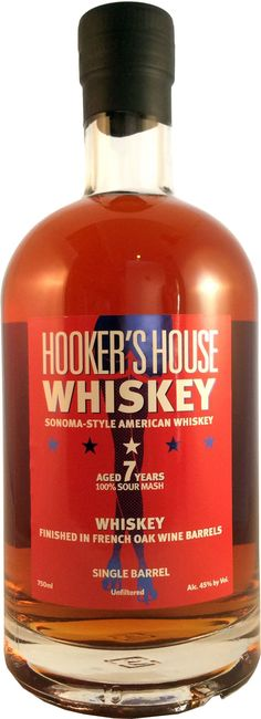 Hooker's House Single Barrel Sour Mash Whiskey. Aged for five years in American oak casks, this #whiskey is matured for an additional two years in casks that were previously used to mature #wine. | @Caskers
