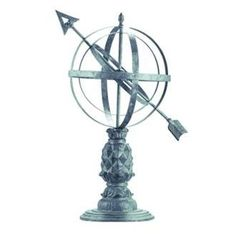 "Williamsburg Verdigris Armillary Sphere Garden Statuary by Lamps Plus. $199.91. Armillary sphere garden statuary is based on the classic design that has been used to depict the celestial heavens for centuries. This decorative yard decor design features a pineapple-decorated stand and sophisticated details, in a cool verdigris finish. Ideal as a yard or garden ornament, and also makes a wonderful indoor sculpture. Aluminum construction. Verdigris finish. 14"" deep. 12"" ..."