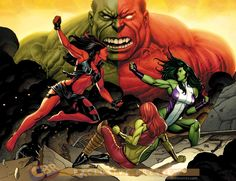 she hulk vs red she hulk | Red She-Hulk vs She-Hulk//Frank Cho/C/ Comic Art Community GALLERY OF ...
