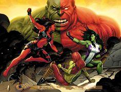 Comic Book Artist: Frank Cho hulk vs rulk – she hulk vs red she hulk Comic Book Artists, Comic Book Characters, Comic Book Heroes, Marvel Characters, Comic Books, Red She Hulk, Red Hulk, Frank Cho, Marvel Comics Art