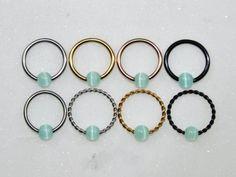 Iridescent Teal Titanium Captive Bead Ring CBR 38 Diameter with 7-Cubic Zirconia Gems Daith Septum 1.2mm 16g