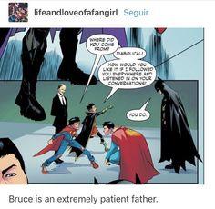 Batman just hands it to him! Hence why i love Batman! Batman Y Superman, Batman Robin, Funny Batman, Batman Arkham, Batman Art, Damian Wayne, Gotham City, Marvel Dc, Marvel Comics