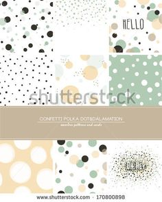 A set of 9 Confetti, Polka Dot and Dalmatian seamless patterns and greeting cards with space for your text. Pastel trendy style. by alicedaniel