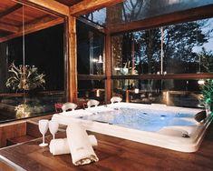 Home Spa Room, Hot Tub Room, Sauna Design, House In The Woods, Bathroom Inspiration, Home Interior Design, New Homes, Travel Trip, Beach Travel