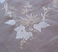 -Embroidered Madeira Vintage Organdy Tablecloth