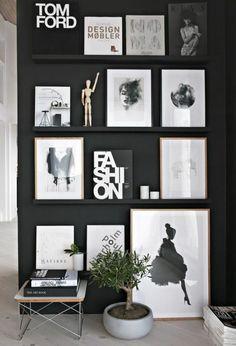 Photo wall shelf black