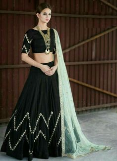 Buy Black Embroidered Banglori Silk Unstitched Lehenga Choli online in India at best price.Product ID 1070899 Type Ghagra choli Returns 7 day Refund Policy Shipping Available Worldwide Package Indian Lehenga, Indian Gowns, Indian Attire, Black Lehenga, Indian Wear, Rajasthani Lehenga, Indian Fashion Dresses, Dress Indian Style, Indian Designer Outfits