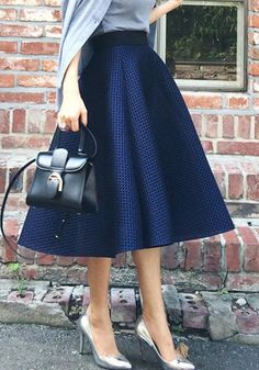 Navy Blue Plain Pleated Hollow-out Skater Flared Vintage Ball Gown High Waisted Fluffy Tutu Midi Skirt Blue Skirt Outfits, Skirt Ootd, Midi Skirt Outfit, Winter Skirt Outfit, Cute Outfits, Midi Skater Skirt, Vintage Ball Gowns, Church Attire, Christian Clothing