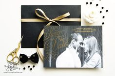 This listing is for a set of gold foil save the date cards in the design shown. Printed on 110lb woven paper with full bleed photograph and gold