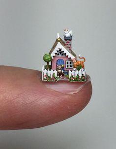 OOAK Miniature Dollhouse Cat Cottage Holly Allen Micro Putz House | eBay