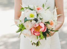 Romantic peony + poppy bouquet
