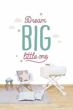 "Mural ""Dream BIG litlle one"" #mrwonderfulshop #wallpaper #baby #decoration"