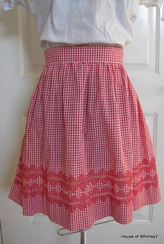 Vintage Apron Red Gingham Stitched by HouseofWhimsy2 on Etsy, $9.50