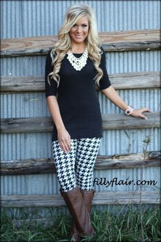 With different shoes (black, pumps or ankle boots). [Houndstooth Leggings - Filly Flair]