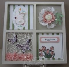 Easter art frame decor. Stampin Up artisan embellishment kit, love is kindness stamp set