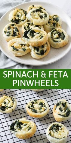 These delicious spinach and feta pinwheels are great as an appetiser or starter. Made with puff pastry and full of flavour, you won't be able to stop at just one! Lunch Snacks, Savory Snacks, Easy Snacks, Snack Recipes, Easy Meals, Cooking Recipes, Savoury Recipes, Delicious Recipes, Easy Recipes
