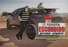 Toyota of Escondido Action Sports rider Dean Wilson with his Toyota Tundra, as seen in Transworld Magazine!