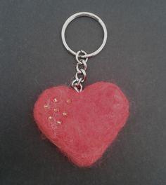 Valentines felted heart keyring £3.00
