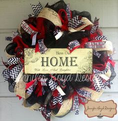 Bless our Home with Love and Laughter Red, Black and White Deco Mesh Everyday Wreath, burlap, chevron, zebra print. $95.00, via Etsy.